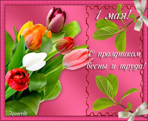 Красивая открытка 1 мая С праздником 1 мая